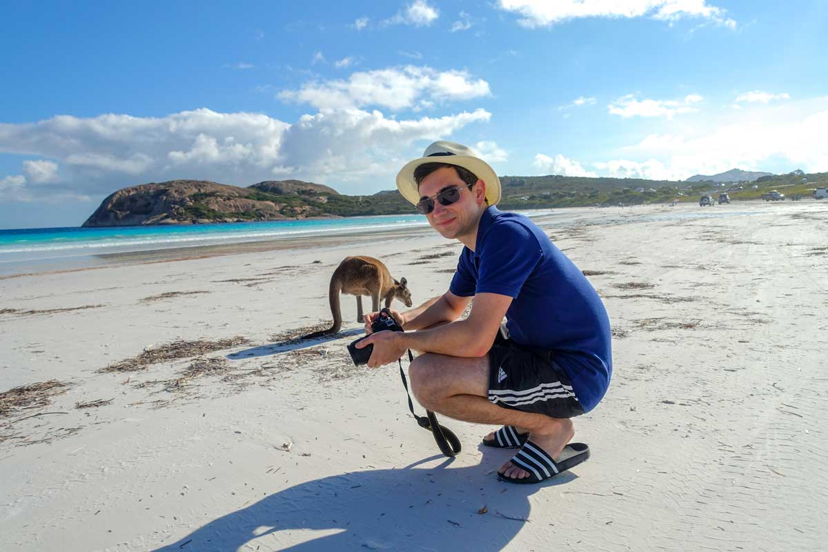 about lucky kangaroos, me with kangaroos on the beach in Western Australia
