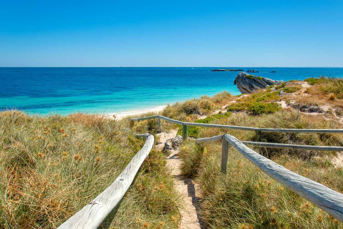 a path to a beautiful beach on Rottnest Island